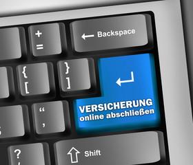 """Keyboard Illustration """"Versicherung online abschließen"""""""