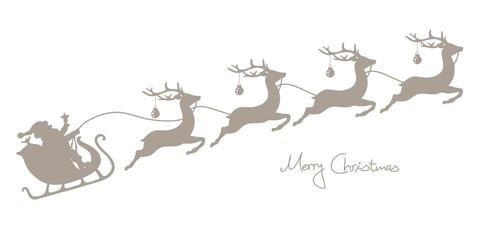 Christmas Sleigh Santa & 4 Flying Reindeers Taupe