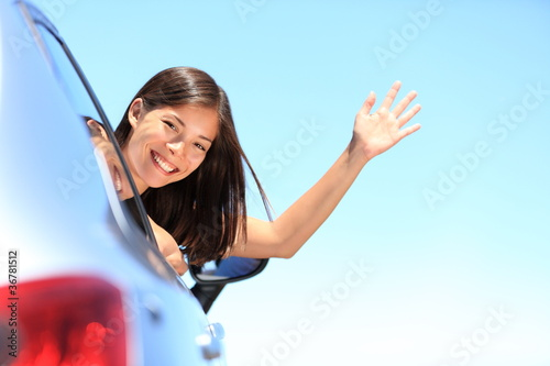 Car woman happy