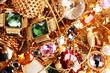 Various gold jewellery closeup
