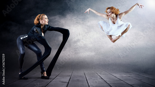Black and White Dancers in posing on background