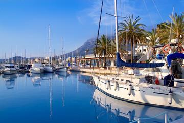 Denia marina port boats and Mongo