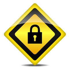 Achtung Warnung Schild Schloß login logout