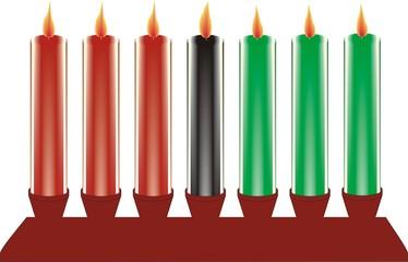 seven kwanzaa candles in vector