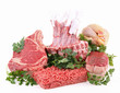 isolated assortment of raw meat