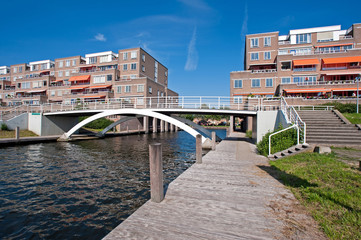 Apartments near a bridge over a canal
