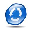 Boton brillante azul hexagonal simbolo renovar
