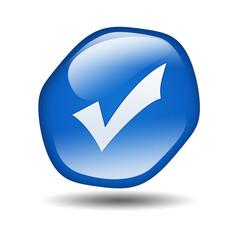 Boton brillante azul hexagonal simbolo validacion