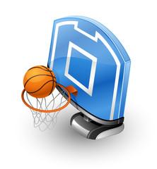 Basketball Hoop and Ball.