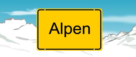 Ortsschild mit Aplen