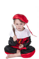 boy dressed up looking angry