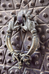 Door handle on a Agha Bozorg mosque, Kashan, Iran