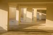 Leinwanddruck Bild - leerstehende Garage mit mehreren Stellplätzen