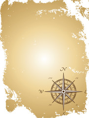Old paper map with compass. Vector illustration