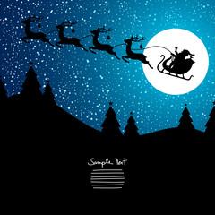 Xmas Card Christmas Sleigh Night Blue