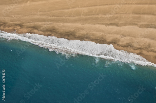sandy beach from the air