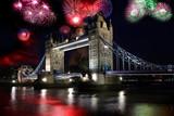 Fototapety Tower Bridge with firework in London, UK