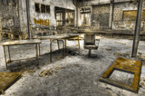 Decayed furniture in an abandoned manufacture