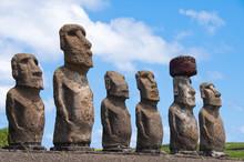 """Постер, картина, фотообои """"Moais in Ahu Tongariki, Easter island (Chile)"""""""