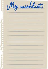 Meine Wunschliste Englisch