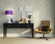 3d Classic, antique, Buffet console with frames, purple light