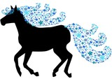 Black silhouette of horse with floral mane poster