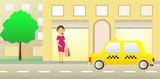 pregnant girl near showcase and taxi car poster