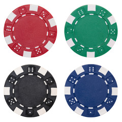 set of poker chips isolated on white