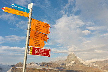 Signpost at Matterhorn, Switzerland