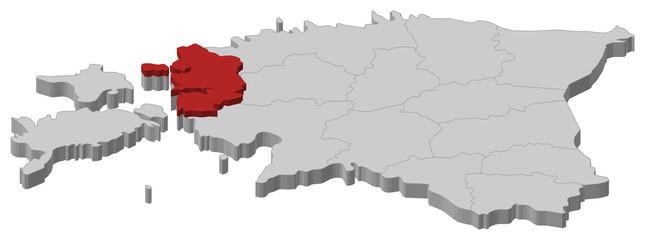 Map of Estonia, Lääne highlighted
