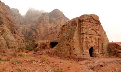 Royal Tomb in the lost rock city of Petra, Jordan.