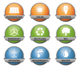 vector buttonset - colored *** green energy