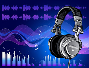 Headphones on blue abstract background