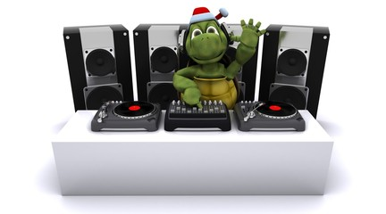 Christmas tortoise DJ mixing records on turntables