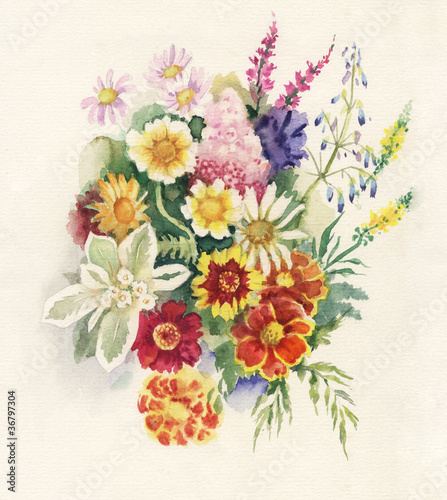 Watercolor Flora Collection: Summers Bouquet