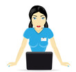 woman consultant with a laptop, vector