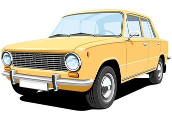 Vector isolated yellow retro car without gradients