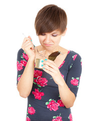 girl unlocks canned food, white background