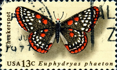 Euphydryas phaeton. Butterfly. US Postage.