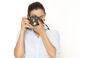 Frau fotografiert