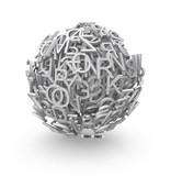 3d sphere of letters