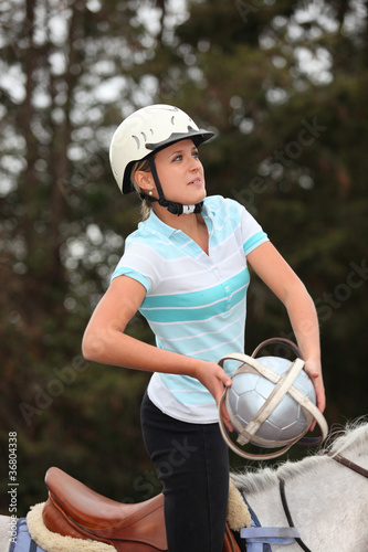 Female horseball player