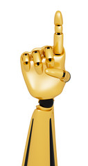 Golden 3d robotic hand showing number one
