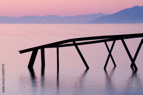 A pink dawn on Baikal lake.