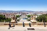 Blick vom Montjuic auf Barcelona, Spanien poster
