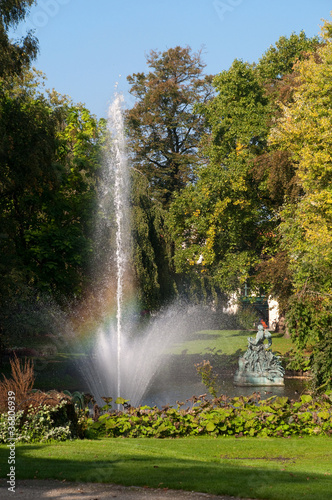 Fountain on Astridpark at Brugge - belgium Poster