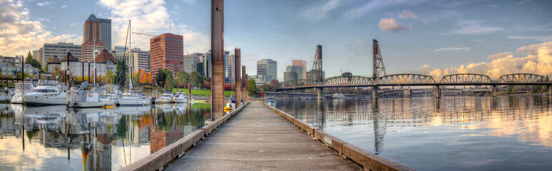 Marina along Willamette River in Portland Oregon Downtown