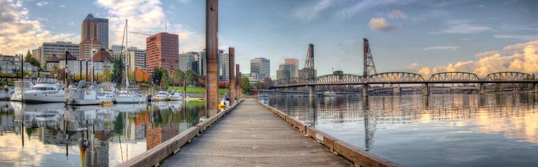 Marina along Willamette River in Portland Oregon Downtown