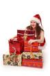 Weihnachtsfrau mit viele Geschenke