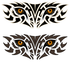 Eyes of an animal, tribal tattoo